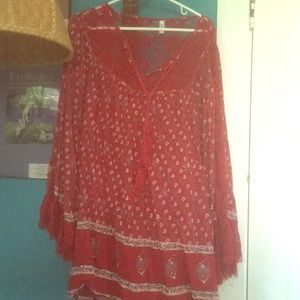 Free people boho dress bell arms lace